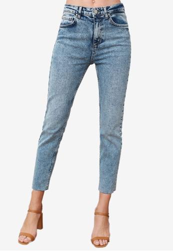 Trendyol blue High Waist Slim Fit Jeans 88E82AAD8894EEGS_1