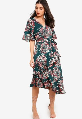 ZALORA green and multi Flutter Sleeves Wrap Ruffles Dress 82096AA2A6E902GS_1