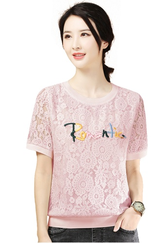 A-IN GIRLS pink Elegant Lace Cut-Out Blouse F973AAA6862E8AGS_1