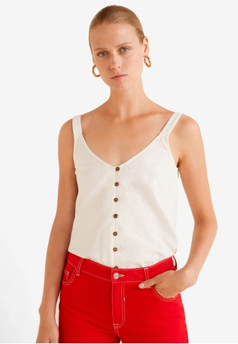Mango white Buttoned Crop Top BC34FAA04502BCGS_1