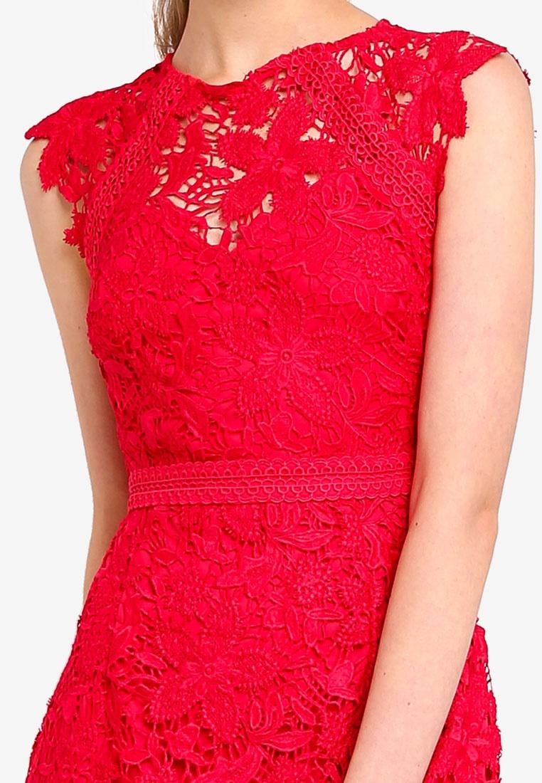Up Lipsy Flippy Red Hem Built Lace Dress Hq6xUHdw