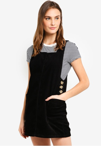 Cotton On black Denim Pinafore Dress 781F5AA752B1E7GS_1