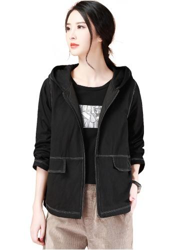 A-IN GIRLS black Simple Wild Hooded Warm Jacket 21DD0AA979B3E0GS_1