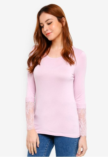 Lubna pink Lace Inner Top Scoop Neck 4B902AAB780A4CGS_1