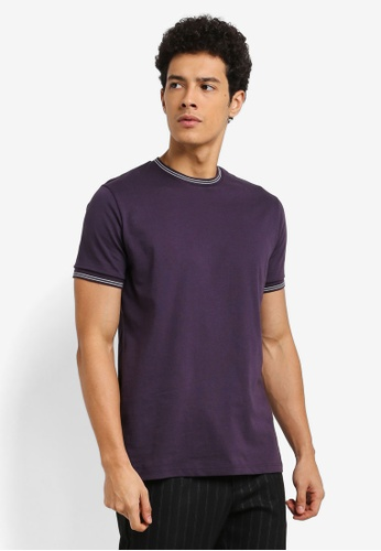 Topman purple Muscle Tipped Ringer T-Shirt 22966AA330A592GS_1