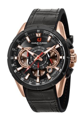 Charles Jourdan black Charles Jourdan Men CJ1029-1532C Black Silicone Leather Watch CH774AC0WAPJID_1