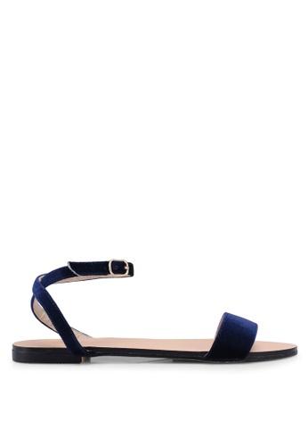 Velvet 海軍藍色 一字帶簡約涼鞋 04232SH0F686FAGS_1