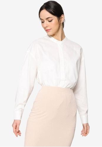 ZALIA BASICS white Mandarin Collar Cotton Shirt 4AD8DAA1511695GS_1