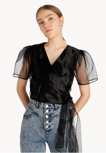 Pomelo black Sheer Puff Sleeve Top - Black 04137AA3FDC0FCGS_1