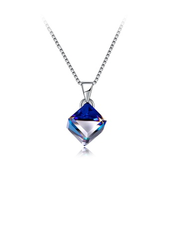 Glamorousky blue 925 Sterling Silver Diamond Pendant with Blue Austrian Element Crystal and Necklace 2D95DAC216A86AGS_1