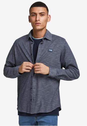 Jack & Jones navy Montana Slim Pique Shirt 2DD93AAACE8A12GS_1