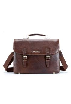 ENZODESIGN brown Vintage Brown Buffalo Leather Satchel 44054AC00ED7EBGS 1 56c5bce6b39a3