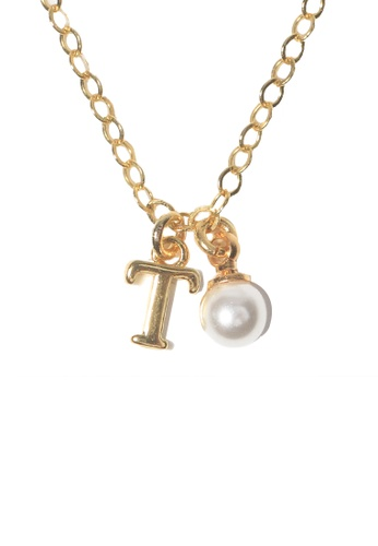 PSYNDROME gold Personalised Initial Letter Alphabet with Pearl Necklace - T FE7A4ACDEC7847GS_1