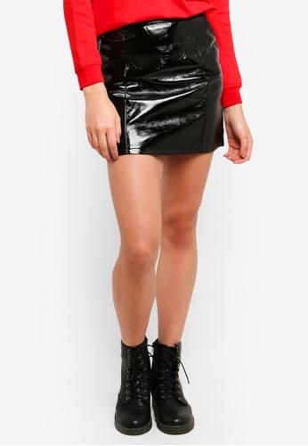 JACQUELINE DE YONG black Franky Glossy Skirt B27BDAA9A7D4F2GS_1