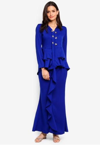 Aqeela Muslimah Wear blue Qhalisha Pleated Kebaya FA309AAAA02C52GS_1
