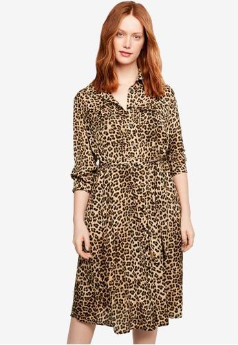 Shop Violeta by MANGO Plus Size Leopard Print Shirt Dress Online on ...