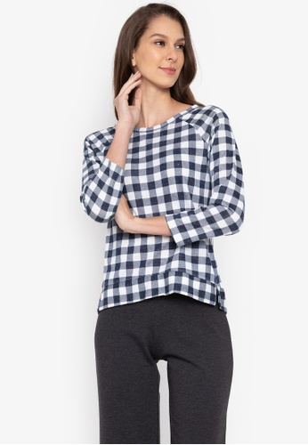 MARKS & SPENCER navy Checked Raglan Round Neck 3/4 Sleeve Top 3F719AA571BC24GS_1