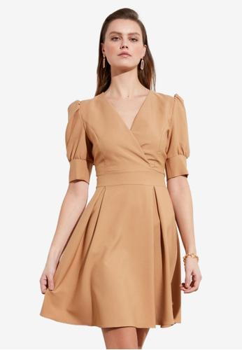 Trendyol brown Puff Sleeve Fit & Flare Wrap Dress 65DCFAA9002813GS_1