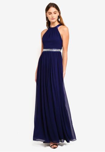 d7f0df72bbad Buy Goddiva Halter Neck Chiffon Maxi Dress Online | ZALORA Malaysia