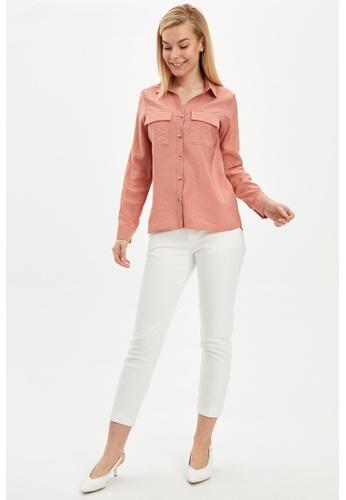DeFacto pink Woman Woven Long Sleeve Shirt 2650EAAC7A79B8GS_1
