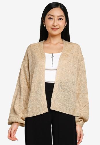 JACQUELINE DE YONG beige Sorella Long Sleeves Knit Cardigan 0458BAAB0AD29AGS_1