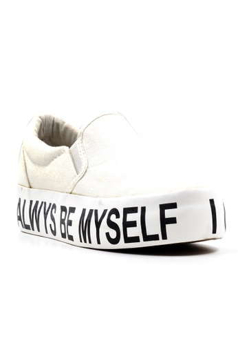 New York Sneakers white I CAN ALWAYS BE MYSELF Slip On Shoes NE675SH17XGSPH_1