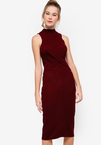 f619f696ed5a Buy Something Borrowed Twisted Rib Midi Dress Online on ZALORA Singapore