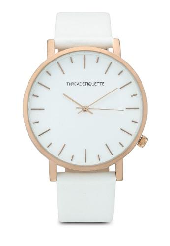 Thread Etiquette white Minimalist-White Timepiece E0FE3ACA1EFD49GS_1