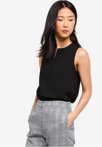 ZALORA BASICS black Basic Crew Neck Zipper Top 7A40BAAA3F9822GS_1