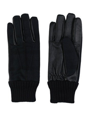 GLOBAL WORK navy Knit with Faux Leather Gloves 83A7AAC21D613FGS_1