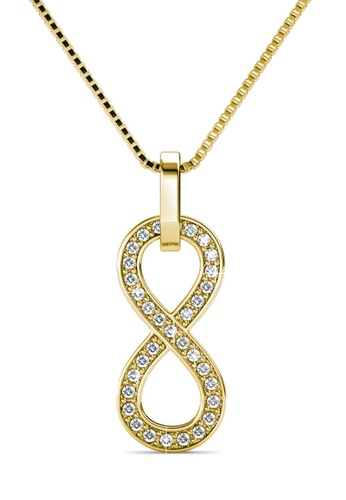 Her Jewellery gold Infinity Eight Pendant (Yellow Gold) - Made with premium grade crystals from Austria ED34DACC06D8E0GS_1