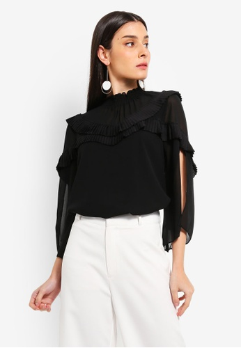Preen & Proper black High Neck Pleat Detail Blouse 35BA8AAA15E55EGS_1
