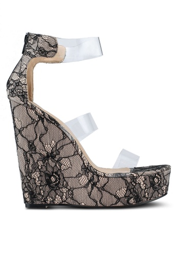 MISSGUIDED black Three Strap Perspex Platform Wedge Lace C6741SH9A430FBGS_1