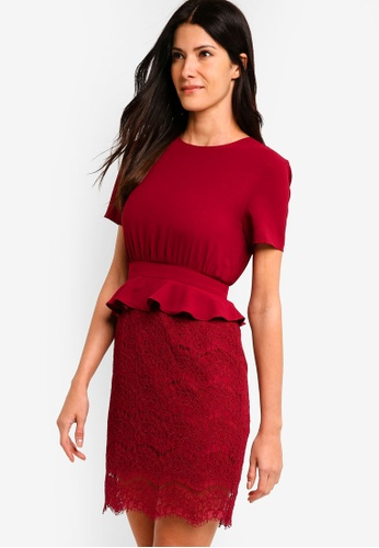 ZALORA red Peplum Lace Sheath Dress 9C22FAA6ADB06DGS_1