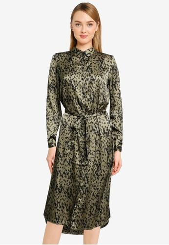 Vero Moda green Becky Long Sleeve Shirt Dress FF60DAAC2C4ACFGS_1
