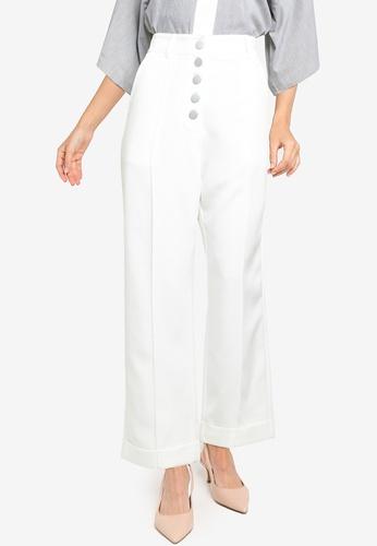 ZALORA WORK white High Waisted Button Detail Pants 6E435AA4A6FEE3GS_1