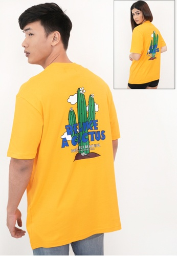 OHNII yellow OVERSIZED BE LIKE A CACTUS COTTON JERSEY TSHIRT (YL) 4CEB0AA3A78A3CGS_1