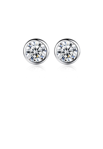 Glamorousky white 925 Sterling Silver Fashion Simple Geometric Round Stud Earrings with Cubic Zirconia 27E66ACAB56408GS_1