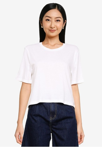 Abercrombie & Fitch white Relaxed Cropped Tee AE621AA331E227GS_1