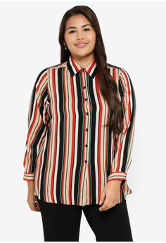 6d032f3d620e55 Ex'otico multi Plus Size Long Sleeve Stripe Blouse 62CB2AA08F4FC8GS_1