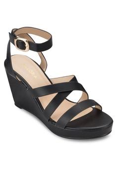 多帶厚底楔型鞋