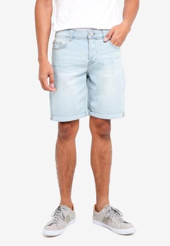 Only & Sons 藍色 休閒牛仔短褲 76262AAB5A7F96GS_1