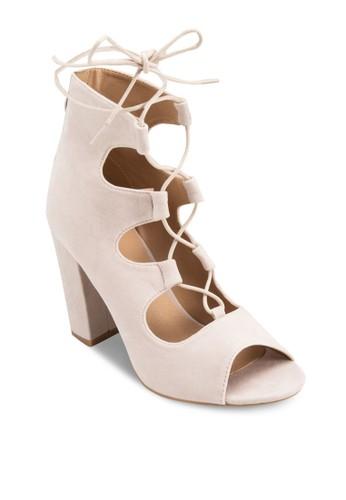 繫帶鏤空露趾粗跟高esprit台灣網頁跟鞋, 女鞋, 鞋