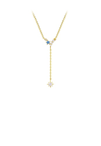 Glamorousky white 925 Sterling Silver Plated Gold Simple Fashion Five-pointed Star Tassel Necklace with Cubic Zirconia BE65EACE8B0808GS_1