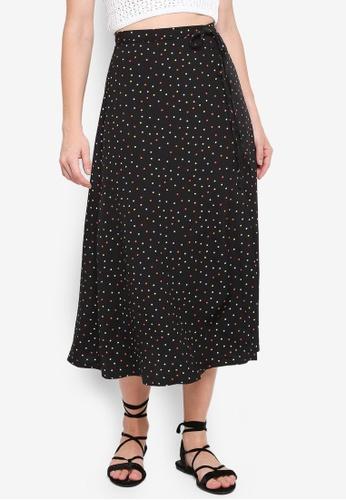 TOPSHOP black Multi Spotted Button Midi Skirt 8E43EAA39E6B07GS_1
