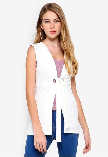 MISSGUIDED 白色 無袖綁帶西裝外套 2CE37AA70FF6B7GS_1
