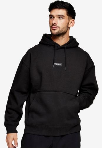 Topman black Signature Black Badge Hoodie Sweatshirt A9305AAEE7AD6CGS_1