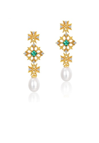 SUNSET gold Premium 925 Sliver Pearl Earring 1DEBFAC5F1CCAEGS_1