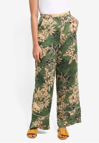 TOPSHOP green Tropical Print PJ Trousers CA668AAFE00A24GS_1
