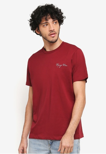 MANGO Man red Logo Cotton T-Shirt MA449AA0T1E4MY_1